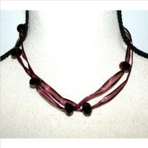 Fashion Necklace Choker Purple 2 Strands Ribbon
